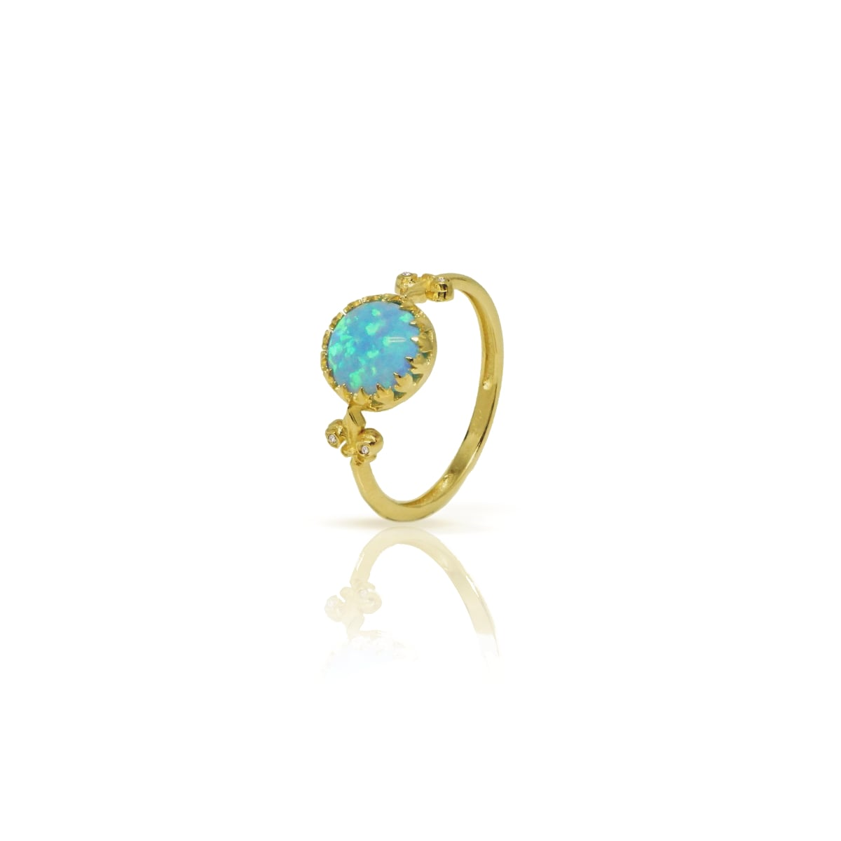 טבעת זהב ואופל כחולה עם יהלומים