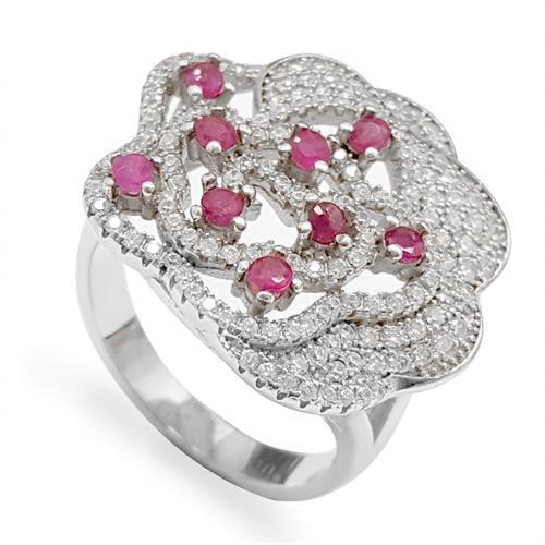 טבעת כסף משובצת אבני רובי אדומות ואבני זרקון קטנות  RG5966 | תכשיטי כסף 925 | טבעות כסף