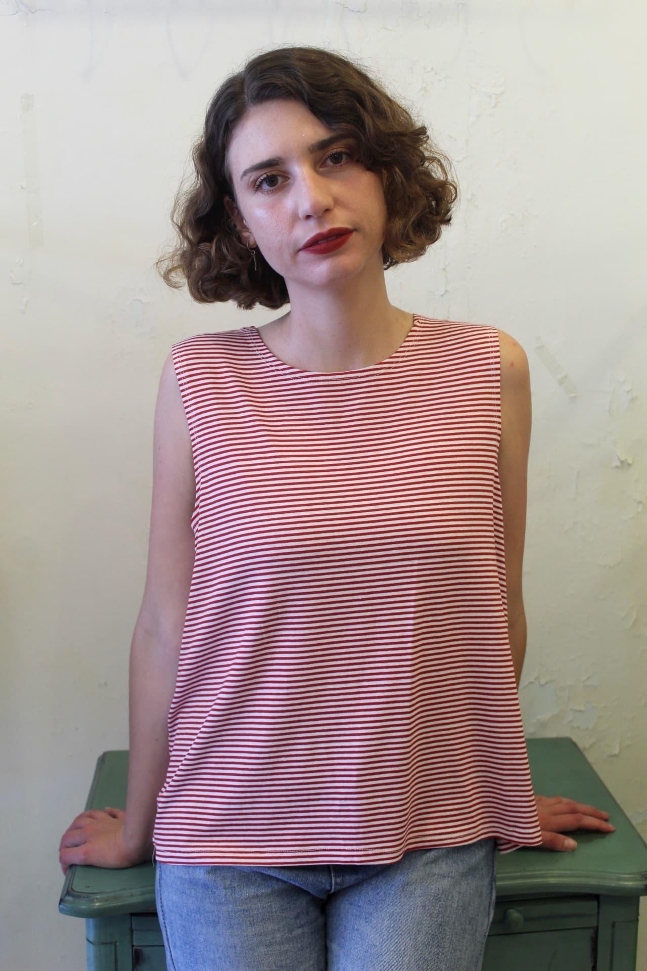 חולצת בוקסי פסים אדום לבן