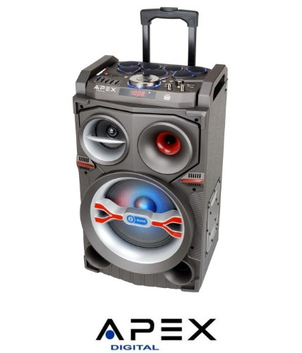 "APEX רמקול קריוקי ""10 נייד+ תופים עם מיקרופון אלחוטידגם AP1590"