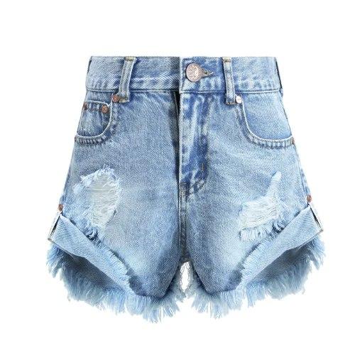שורט ג'ינס VIEW קרעים כחול משופשף  2-16