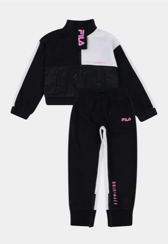 Fila חליפה חצי רוכסן שחור ורוד מידות 2-16 שנים