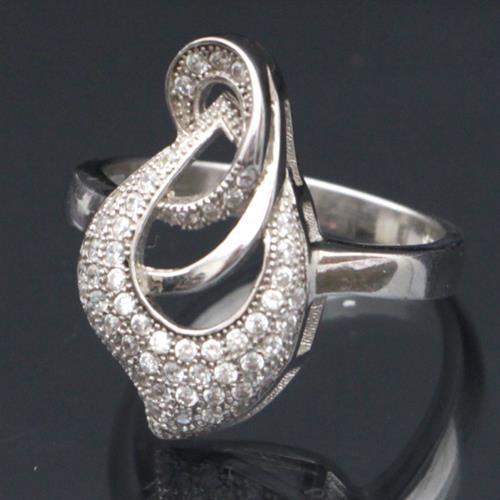 טבעת כסף משובצת זרקונים RG7461