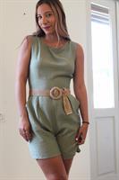אוברול פשתן ירוק בהיר
