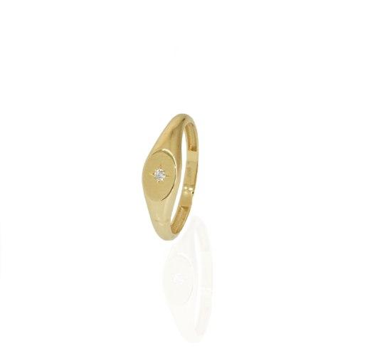 טבעת זהב חריטת כוכב לייזר עם זרקון