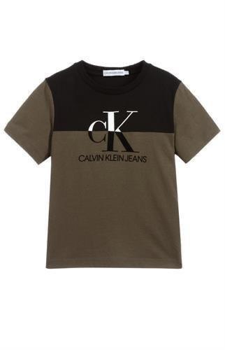 טי שירט ירוק זית/שחור בנים - Calvin Klein - מידות 4 עד 16 שנים