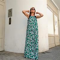 שמלת שיר מקסי - ירוק מודפס