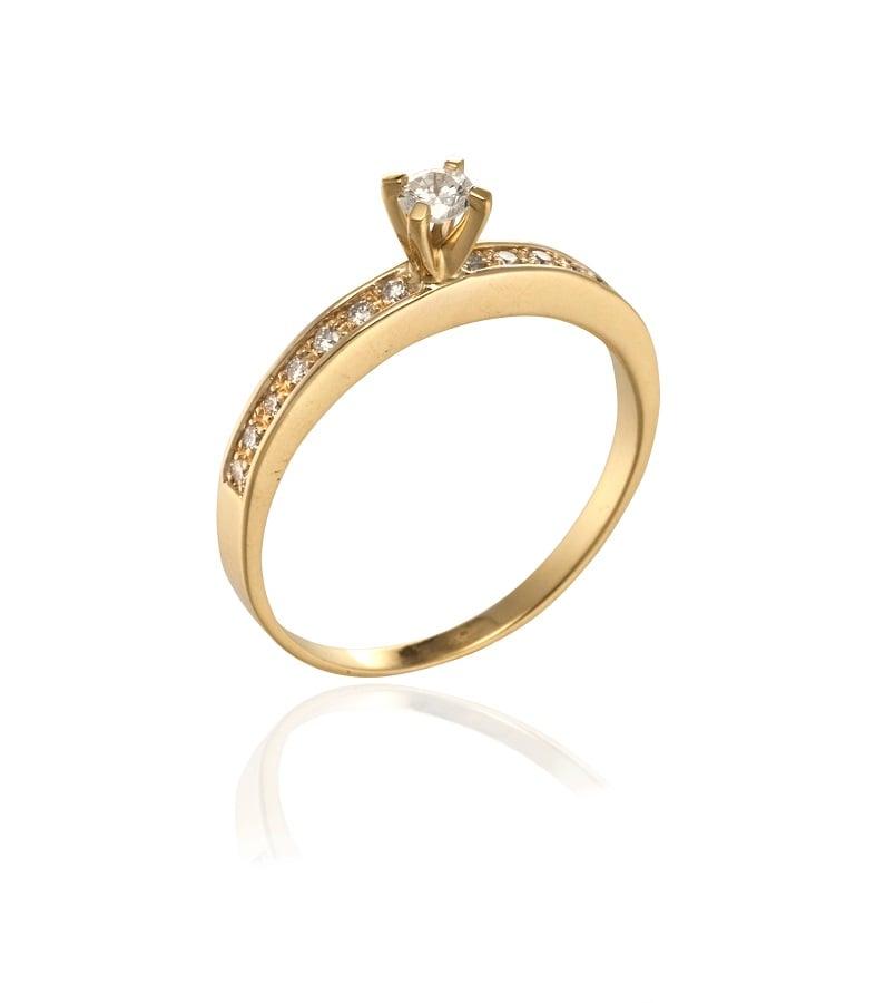 טבעת אירוסין זהב יהלומים 0.30 קראט