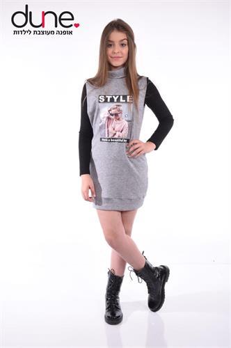 שמלת סריג עם חולצה ודפוס