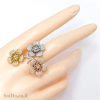 טבעת מכסף משובצת אבני זרקון בשילוב ציפוי גולדפילד RG1591 | תכשיטי כסף | טבעות כסף