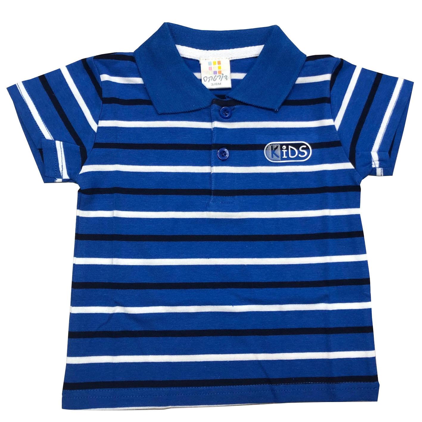חולצת פולו פסים כחול-לבן