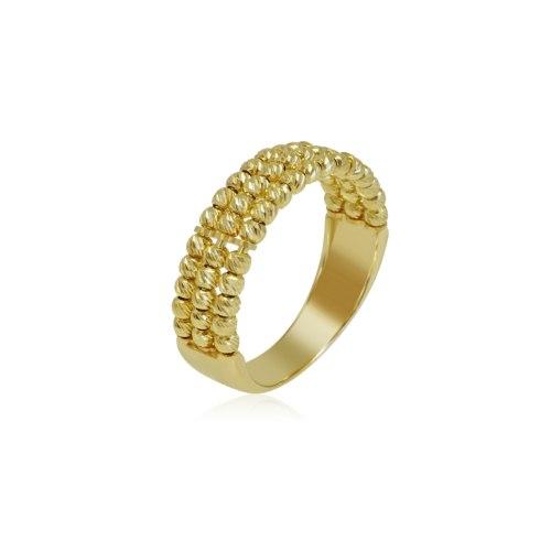 טבעת כדורים זהב שלוש שורות