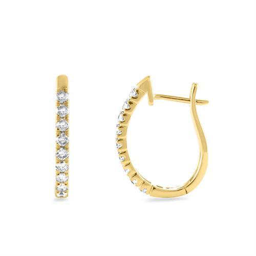 עגילי זהב צהוב 14 קראט משובצים חצי קראט יהלומים