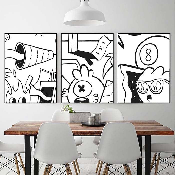 סט תמונות שחור לבן להלבשת פינת אוכל של האמן כפיר תג'ר