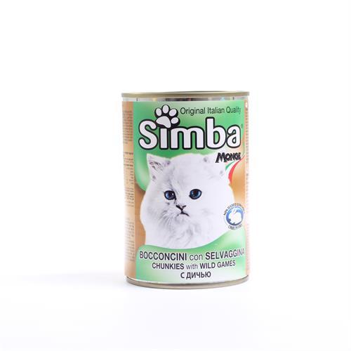 שימורי סימבה נתחי בשר צייד לחתול 415