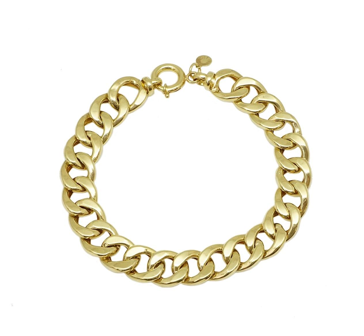 צמיד זהב חוליות לאישה מלא נוכחות דגם CURB