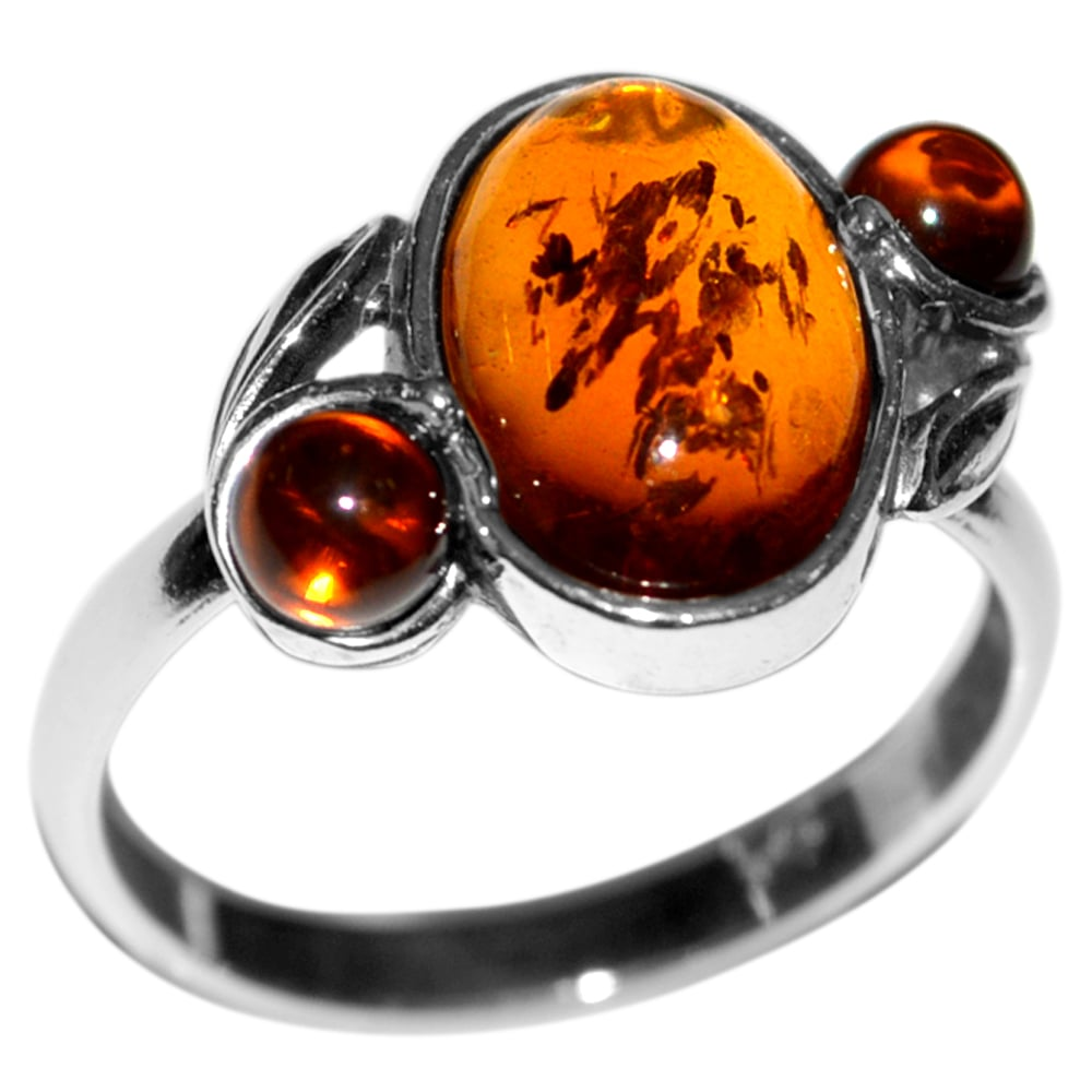 טבעת כסף משובצת ענבר RG7090 | תכשיטי כסף 925
