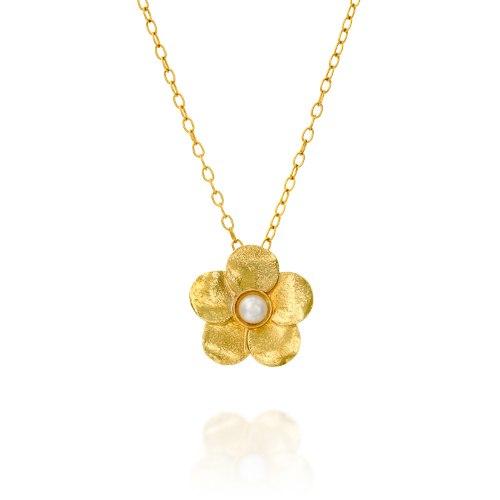 שרשרת גולדפילד עם תליון פרח מצופה זהב עם פנינה נועה טריפ noa tripp