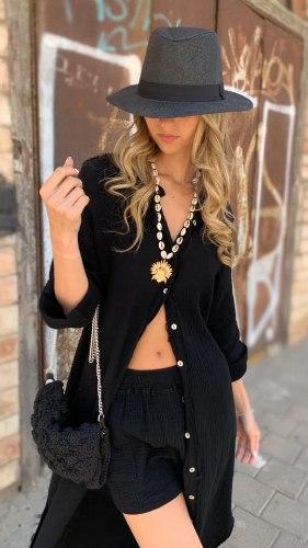 שמלת ווש כפתורים שחורה