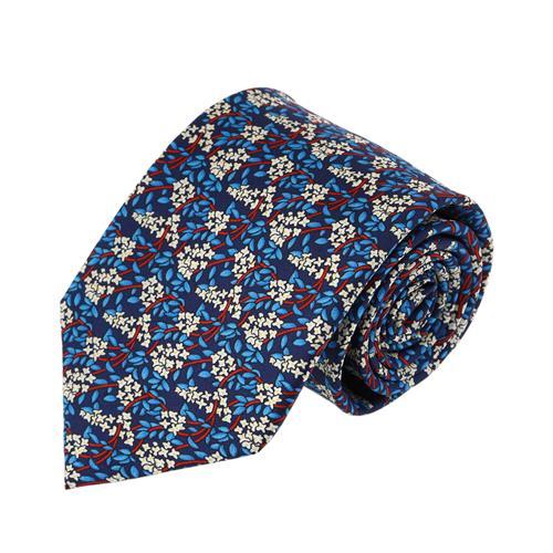 עניבה עלים שילוב תכלת
