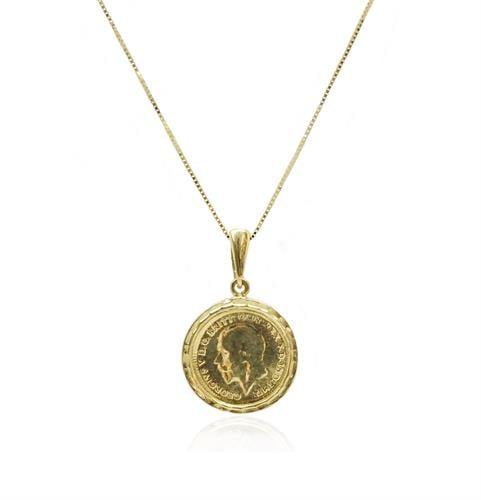תליון ושרשרת זהב מטבע