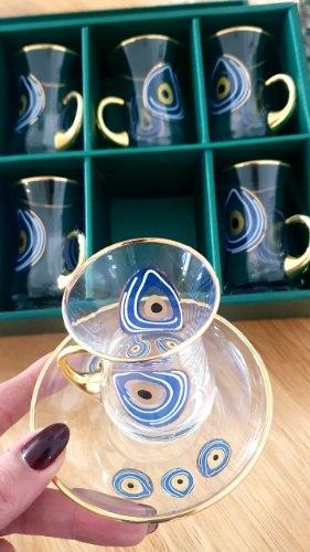 סט שישיית צלחות וכוסות לתה
