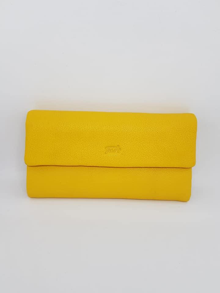 ארנק עור 6006 שחור, צהוב, סגול