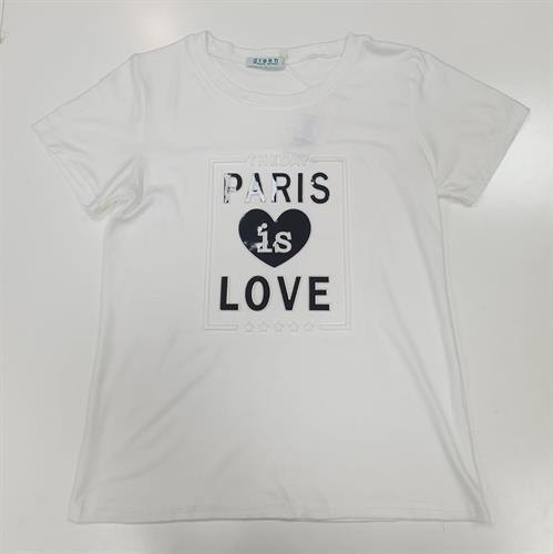 חולצת נשים הדפס הבלטה LOVE PARIS לבן