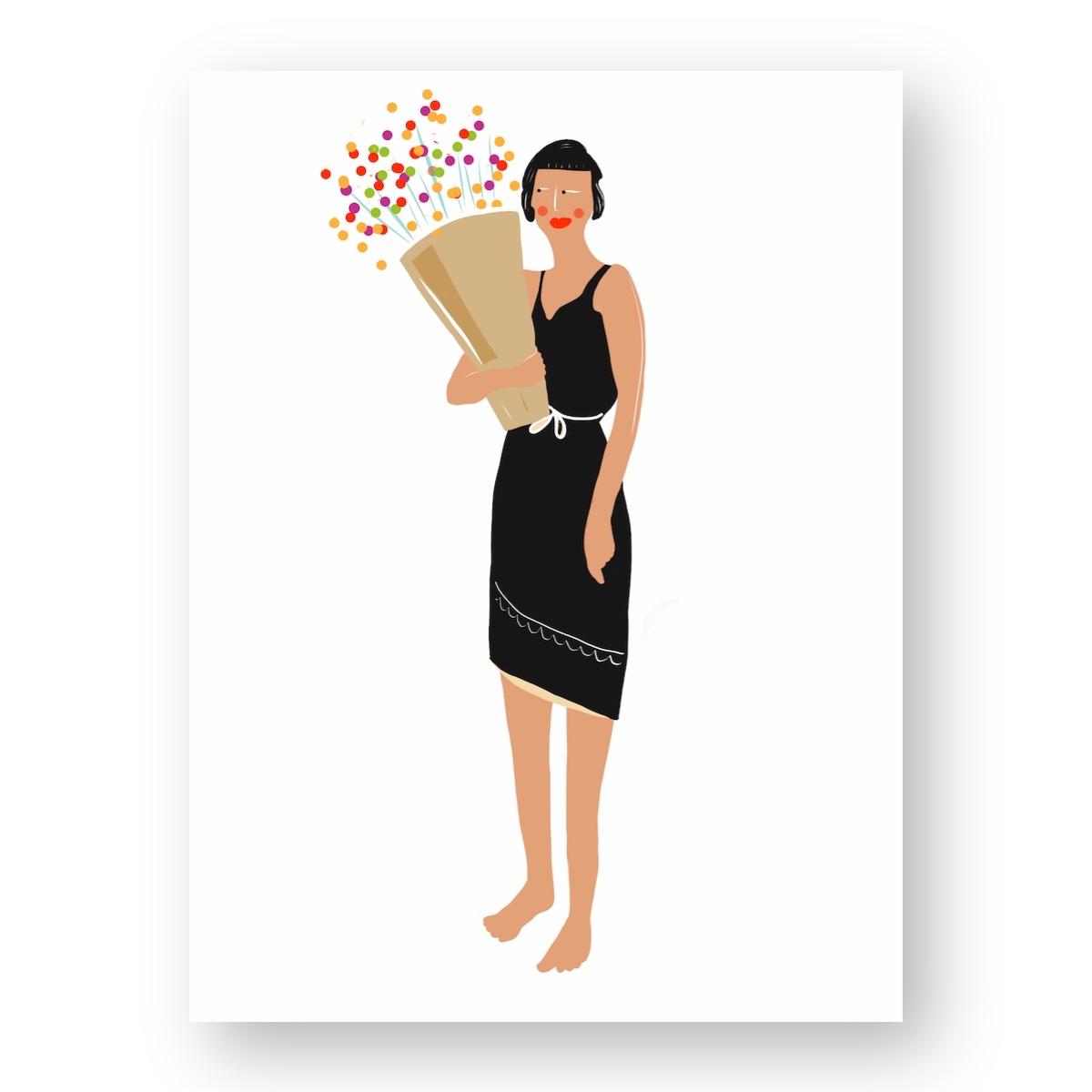 """אשה מחזיקה בזר פרחים #1 - מתוך """"החיים יפים"""", הסדרה האופטימית"""