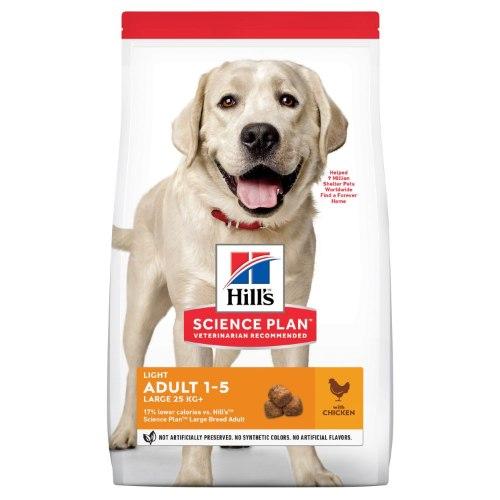 """מזון לכלבים בוגרים מגזעים גדולים הילס סיינס פלאן לייט עוף Hill's Science Plan Light ק""""ג 14"""