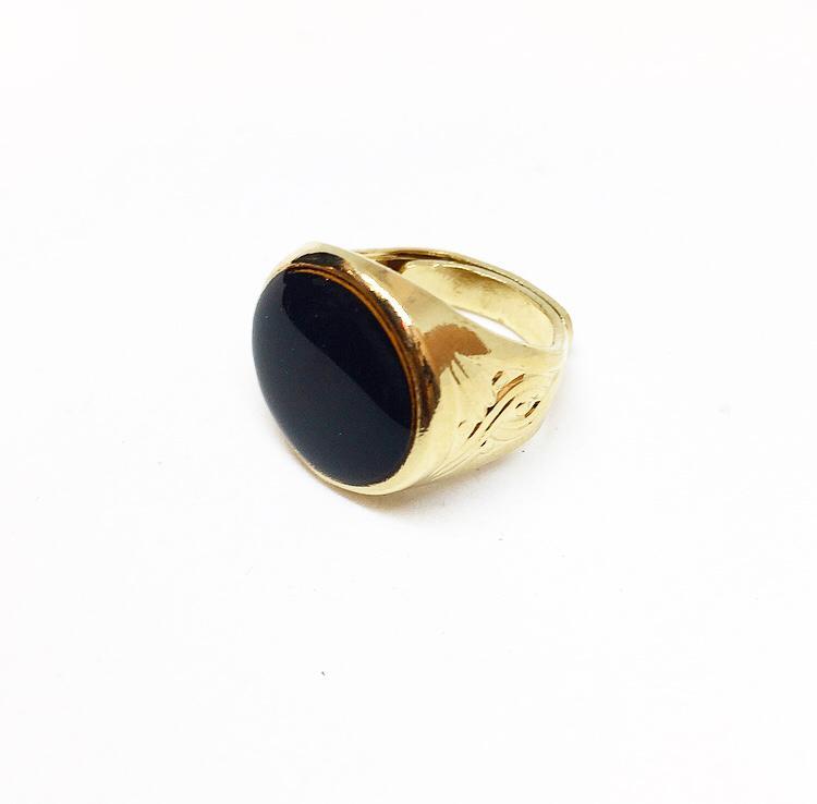 טבעת חותם אמייל שחור