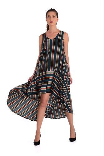 שמלה קריסטין פסים זית