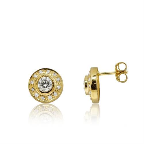 עגילים צמודים זהב 14 קרט משובץ 0.84 קראט