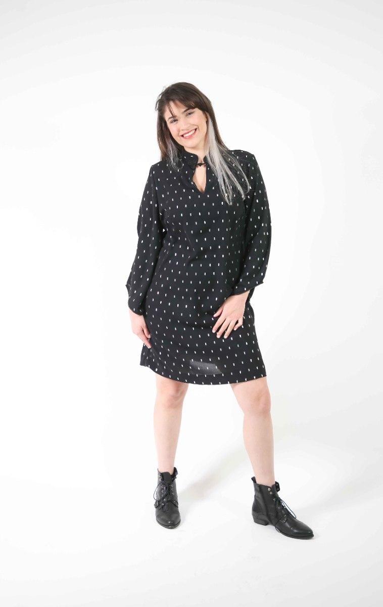שמלת סופיה שחורה עם הדפס כסף עדין