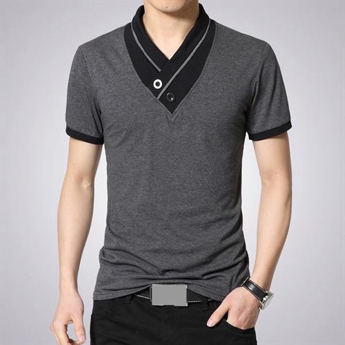 חולצת T אופנתית מעוצבת צווארון כפתורים