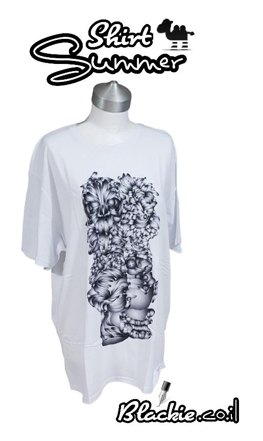 חולצה לבנה לקיץ הדפס גראפי ארבע