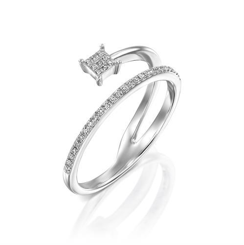 טבעת תנועת היהלום משובצת יהלומים בזהב לבן או צהוב 14 קראט
