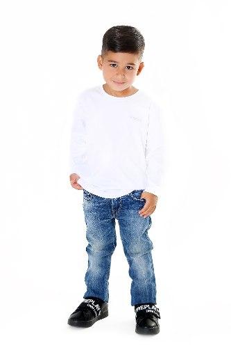 חולצת T לבנה לוגו מולבט REPLAT