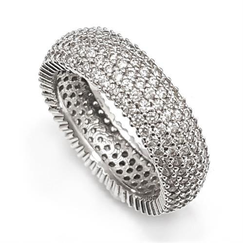 טבעת כסף משובצת 5 שורות אבני זרקון  RG5770 | תכשיטי כסף | טבעות כסף