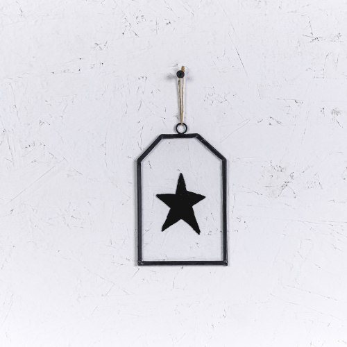 שלט זכוכית קטן - כוכב (שחור)