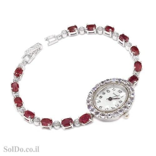 שעון מכסף לאישה משובץ אבני רוב ואבני טנזנית SH3275 | תכשיטי כסף