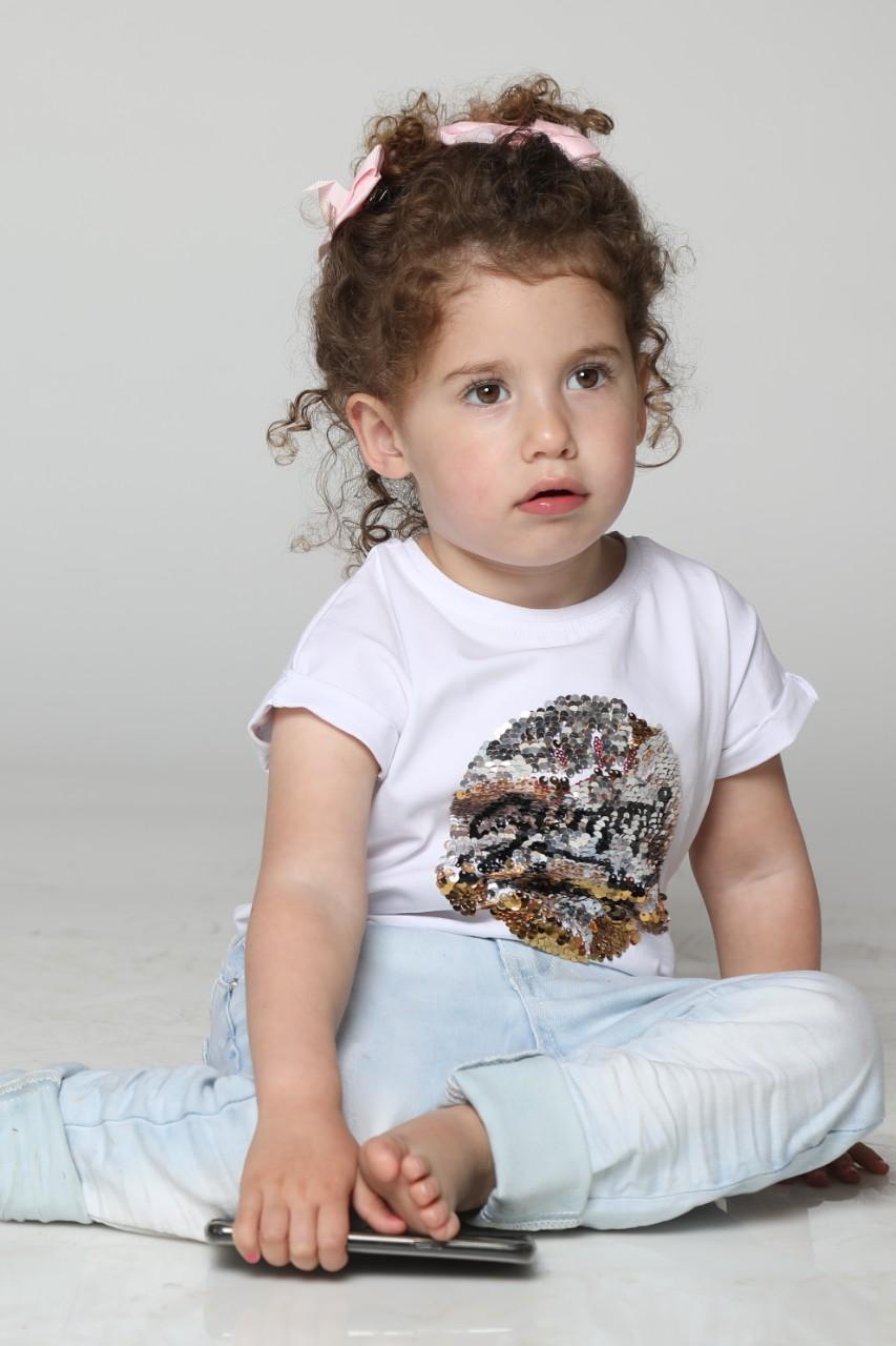 חולצה כותנה לייקרה בנות פייטים