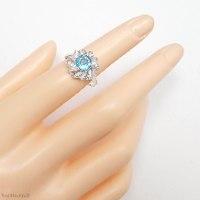 טבעת מכסף משובצת אבן טופז כחולה  ואבני זרקון RG6337   תכשיטי כסף 925   טבעות כסף