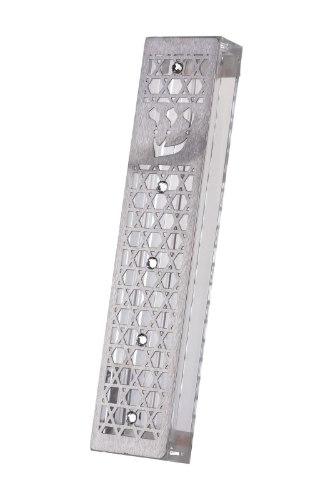 """בית מזוזה עיצוב מגני דוד עם אבן חן 12 ס""""מ"""