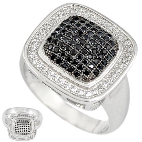 טבעת כסף משובצת אבני זרקון שחורות ולבנות RG6172 | תכשיטי כסף | טבעות כסף