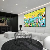 ציור פופ ארט צבעוני למשרד של האמן כפיר תג'ר