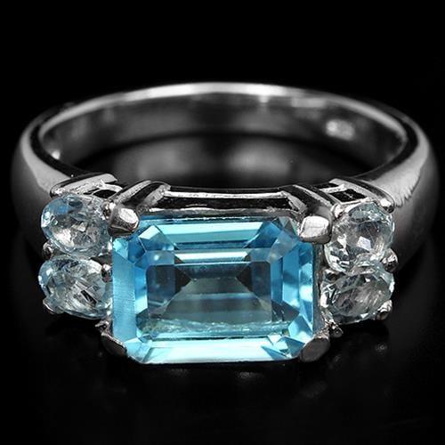 טבעת כסף משובצת טופז כחול RG2607   תכשיטי כסף 925