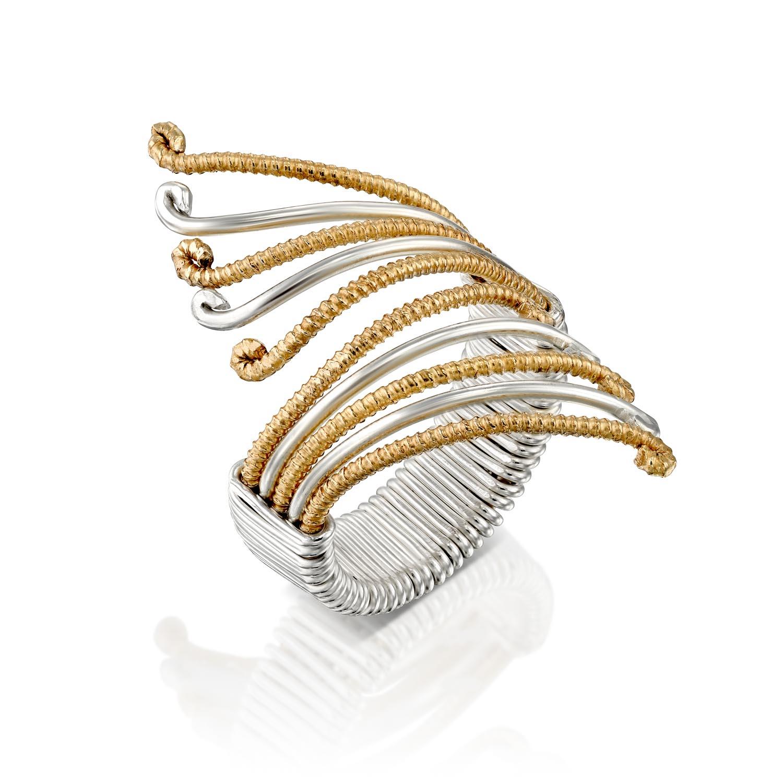 טבעת משי פרפר לבן צהוב