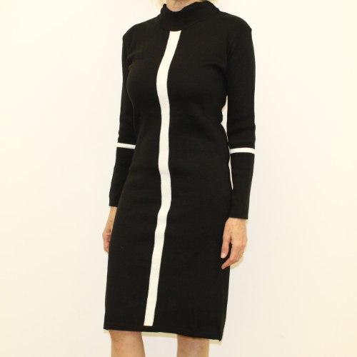 שמלת סריג נשים אלגנטי שחור