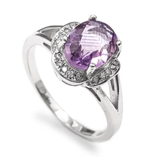 טבעת כסף משובצת אבן אמטיסט וזרקונים RG5938 | תכשיטי כסף 925 | טבעות כסף